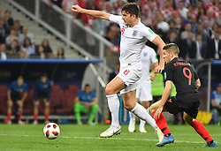 England's Harry Maguire and Croatia's Andrej Kramaric during the 2018 FIFA World Cup semi-final match England v Croatia at Luzhniki Stadium in Moscow, Russia on July 11, 2018. Croatia beat England 2-1 to qualify for the final. Photo by Christian Liewig/ABACAPRESS.COM