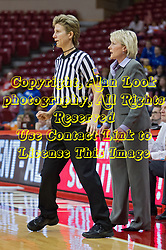 03 January 2014:  Referee Laura Morris steps around Head Coach Barb Smith during an NCAA women's basketball game between the Drake Bulldogs and the Illinois Sate Redbirds at Redbird Arena in Normal IL