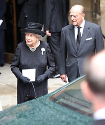 Queen Elizabeth II and the Duke of Edinburgh leave the funeral of Countess Mountbatten of Burma at St Paul's Church, Knightsbridge, London. ... 27-06-2017 ... Photo by: Mark Richards/The Daily Mail/PA Wire.URN:31853225
