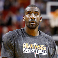 27 January 2012: New York Knicks power forward Amare Stoudemire warms up prior to the Miami Heat 99-89 victory over the New York Knicks at the AmericanAirlines Arena, Miami, Florida, USA. NOTE TO USER: User expressly acknowledges and agrees that, by downloading and or using this photograph, User is consenting to the terms and conditions of the Getty Images License Agreement. Mandatory Credit: 2012 NBAE (Photo by Chris Elise/NBAE via Getty Images)
