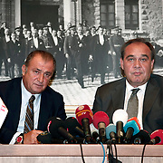 Turkish national soccer team new coach Fatih Terim (L) attend a signing ceremony in Istanbul, Turkey on 22 August 2013. Turkish Football Federation has agreed a 1-year contract with Fatih Terim for Turkish A National Team Head Coach. Terim signed his contract today in TFF Headquarters, Istanbul with the participation of TFF President Yildirim Demiroren (R), TFF Executive Board and TFF General Secretary. Fatih Terim will take charge of Turkey for the rest of their 2014 FIFA World Cup qualifying campaign, starting next month, while remaining in his role as coach of Galatasaray. Photo by TURKPIX