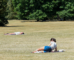 © Licensed to London News Pictures. 01/08/2018. LONDON, UK.  People sunbathe during warm weather in Hyde Park.  Temperatures are forecast to increase back to the 30s in time for the weekend  Photo credit: Stephen Chung/LNP
