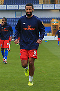 Luke Croll (5) of Dagenham & Redbridge   in the warm up during the The FA Cup match between Mansfield Town and Dagenham and Redbridge at the One Call Stadium, Mansfield, England on 29 November 2020.