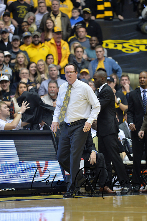 WICHITA, KS - JANUARY 07:  Head coach Gregg Marshall of the Wichita State Shockers tosses his jacket in frustration, after a foul call against the Shockers during the first half against the Bradley Braves on January 7, 2015 at Charles Koch Arena in Wichita, Kansas.  (Photo by Peter G.Aiken) *** Local Caption *** Gregg Marshall