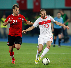 15.08.2012, Ernst Happel Stadion, Wien, AUT, Testspiel, Oesterreich vs Tuerkei, im Bild Andreas Ivanschitz (L) of Austria and Caner Erkin (R) of Turkey. // during international friendly Match between Austria and Turkey at the Ernst Happel Stadium, Vienna, Austria on 2012/08/15. EXPA Pictures © 2012, PhotoCredit: EXPA/ Seskimphoto/ Sphk/ ****** ATTENTION - for AUT, ESP, ITA, SWE, SLO, NOR, FIN, SRB NED and USA ONLY! *****