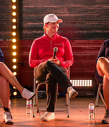 Pictured: Fringe by the Sea, North Berwick, East Lothian, Scotland, United Kingdom, 06 August 2019. Top female golfers competing in the Aberdeen Standard Investments Ladies Scottish Open this week appear on a panel and take questions from the audience, as part of a podcast called On the Dance Floor. Pictured: Caroline Masson (Germany).<br /> <br /> Sally Anderson | EdinburghElitemedia.co.uk