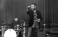 Kasabian vocalist Tom Meighan performing at the Leicester City Victory Parade celebration at Victoria Park<br /> <br /> Photographer Rachel Holborn/CameraSport<br /> <br /> Football - Barclays Premiership - Leicester City Victory Parade - Monday 16th May 2016 - Victoria Park - Leicester<br /> <br /> © CameraSport - 43 Linden Ave. Countesthorpe. Leicester. England. LE8 5PG - Tel: +44 (0) 116 277 4147 - admin@camerasport.com - www.camerasport.com
