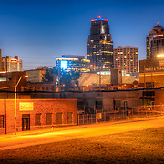 Part of the downtown Kansas City skyline from a building's fire escape at 18th and Holmes.