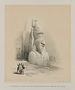 One of Two Colossal Statues of Rameses II. Entrance to the Temple of Luxor from Egypt and Nubia, Volume I: One of Two Colossal Statues of Rameses II. Entrance to the Temple of Luxor, 1847. Louis Haghe (British, 1806-1885), F.G.Moon, 20 Threadneedle Street, London, after David Roberts (British, 1796-1864). Color lithograph;