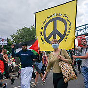 Kate Hudson of the CND attended Resist DSEI: Stop Arming Israel Demonstration march in East London shouting Stop arming Israel on 2021-09-12, London, UK.