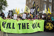 Activists from civil liberties groups take part in a Kill The Bill National Day of Action in protest against the Police, Crime, Sentencing and Courts PCSC Bill 2021 on 29th May 2021 in London, United Kingdom. The PCSC Bill would grant the police a range of new discretionary powers to shut down protests, including the ability to impose conditions on any protest deemed to be disruptive to the local community, wider stop and search powers and sentences of up to 10 years in prison for damaging memorials.