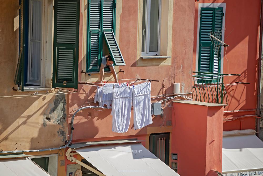 Laundry Day in Vernazza, Italy