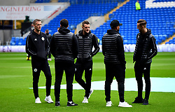 Leicester City's Jamie Vardy (centre), Andy King (left) and James Maddison (right) on the pitch before kick-off during the Premier League match at the Cardiff City Stadium, Cardiff.