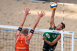 Stefan Boermans (1) of The Netherlands, Dimitri Korotkov (1) of Estonia in action during CEV Continental Cup Final Day 1 - Women on June 23, 2021 in The Hague