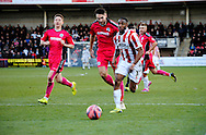 Craig Braham-Barrett attacks during the The FA Cup match between Cheltenham Town and Dover Athletic at Whaddon Road, Cheltenham, England on 7 December 2014.