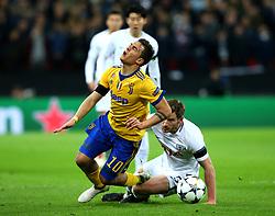 Paulo Dybala of Juventus is fouled by Jan Vertonghen of Tottenham Hotspur - Mandatory by-line: Robbie Stephenson/JMP - 07/03/2018 - FOOTBALL - Wembley Stadium - London, England - Tottenham Hotspur v Juventus - UEFA Champions League, Round of 16, second leg