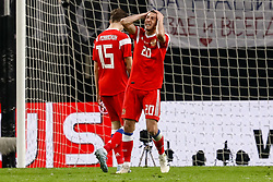 November 15, 2018 - Leipzig, Germany - Aleksey Ionov (R) of Russia reacts after missing his chance during the international friendly match between Germany and Russia on November 15, 2018 at Red Bull Arena in Leipzig, Germany. (Credit Image: © Mike Kireev/NurPhoto via ZUMA Press)