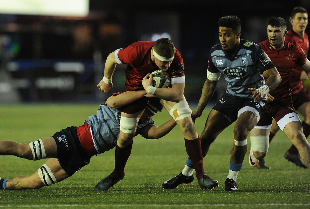 Munster's Jack O'Donoghue is tackled by Cardiff Blues' Ellis Jenkins<br /> <br /> Photographer Kevin Barnes/CameraSport<br /> <br /> Guinness Pro14 Round 15 - Cardiff Blues v Munster Rugby - Saturday 17th February 2018 - Cardiff Arms Park - Cardiff<br /> <br /> World Copyright © 2018 CameraSport. All rights reserved. 43 Linden Ave. Countesthorpe. Leicester. England. LE8 5PG - Tel: +44 (0) 116 277 4147 - admin@camerasport.com - www.camerasport.com
