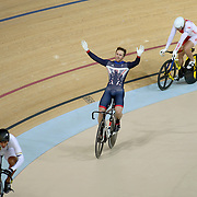 Track Cycling - Olympics: Day 11  Jason Kenny of Great Britain celebrates after his gold medal ride in the Men's Keirin during the track cycling competition at the Rio Olympic Velodrome August 16, 2016 in Rio de Janeiro, Brazil. (Photo by Tim Clayton/Corbis via Getty Images)