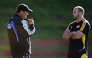 Hurricanes coach Colin Cooper talks with Scott Waldrom after training.<br /> Super 14 - Hurricanes training session, at Rugby League Park, Wellington. Wednesday, 21 May 2008. Photo: Dave Lintott/PHOTOSPORT