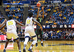 Jan 21, 2019; Morgantown, WV, USA; Baylor Bears guard Devonte Bandoo (2) shoots a jumper during the first half against the West Virginia Mountaineers at WVU Coliseum. Mandatory Credit: Ben Queen-USA TODAY Sports
