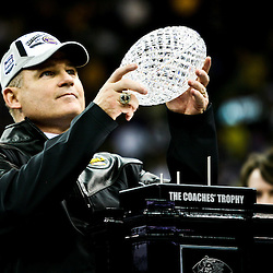 07 January 2008: LSU head coach Les Miles holds up the crystal football from the Coaches Trophy following the 2008 Allstate BCS Championship game a 38-24 win by the LSU Tigers over the Ohio State Buckeyes at the Louisiana Superdome in New Orleans, Louisiana.