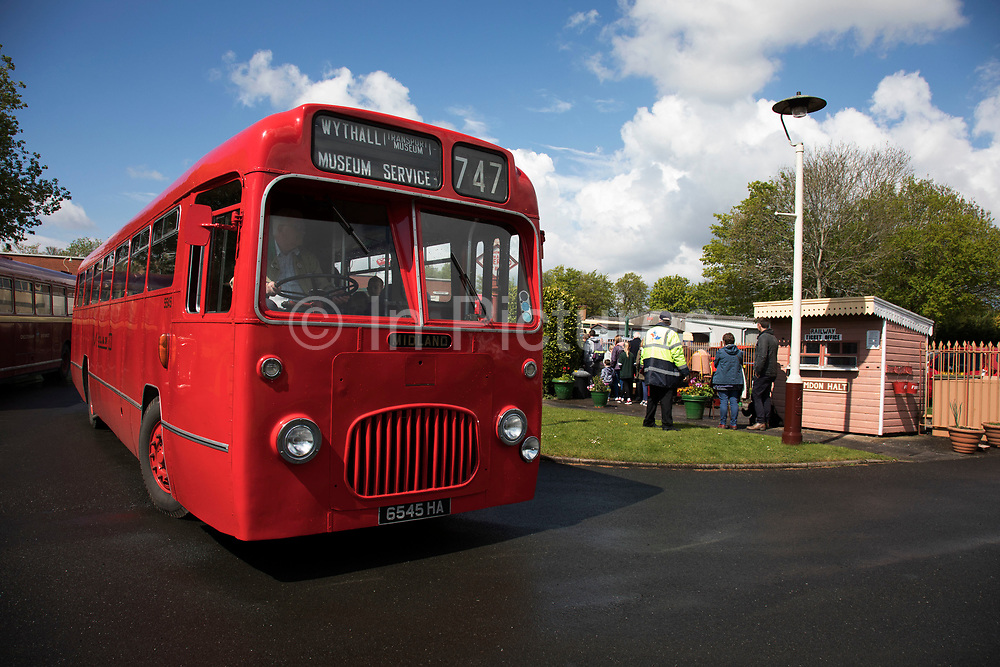 Open day at Wythall Transport Museum on May 1st 2017 in Wythall, England, United Kingdom. The Transport Museum, Wythall is a transport museum just outside Birmingham, at Wythall, Worcestershire.The museum is run by the charity The Birmingham and Midland Motor Omnibus Trust (BaMMOT). The museum has three halls, presenting a significant collection of preserved buses and coaches, including Midland Red and Birmingham City Transport vehicles. It is also home to the Elmdon Model Engineering Society (EMES) who operate the Wythall miniature railway within the grounds of the transport museum, giving rides to public on miniature steam trains.