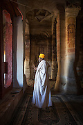 Portrait of a priest holding a cross, the Mariam Korkor Church. Tigray, Ethiopia, Horn of Africa