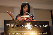 Ilyassah Shabazz(Daughter of Malcom X and Dr. Betty Shabazz)  at The 84th Birthday Celebration for Malcolm X and the Memorializing and Marking, for the First Time, the Location in Audubon Ballroom Where He Was Martyred in 1965.