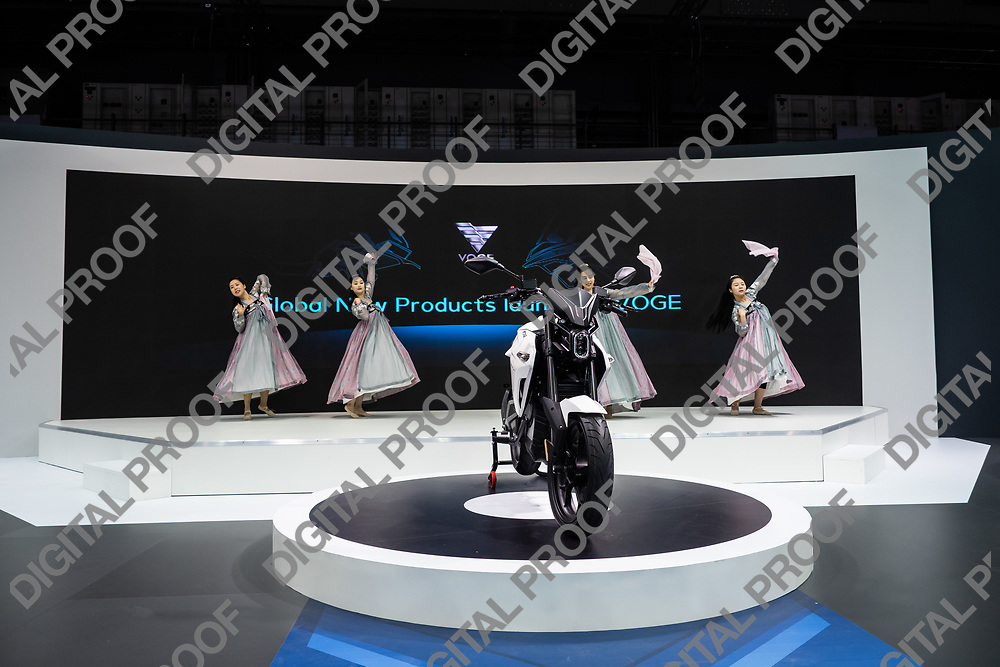 RHO Fieramilano, Milan Italy - November 07, 2019 EICMA Expo. Performers dance at the presentation of Voge motorcycle ER 10 in EICMA 2019