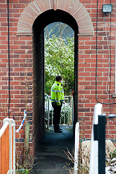 Police officer outside the back of the house on Beck Road where a Three Year old girl was taken from to Sheffield Childrens Hosptial on Friday (8th feb). The girl later died around 12:20am Saturday morning (9 Feb).A 30-year-old man charged with murder of three-year-old girl from Beck Road Shiregreen, Sheffield..11 February 2013.Image © Paul David Drabble