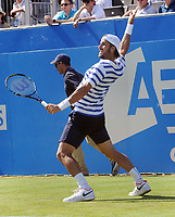Tennis - 2017 Aegon Championships [Queen's Club Championship] - Day Two, Monday<br /> <br /> Men's Singles, Round of 32<br /> Feliciano Lopez [Spain] vs. Stan Wawrinka [Sui]<br /> <br /> Feliciano Lopez celebrates winning his match on Centre Court <br /> <br /> COLORSPORT/ANDREW COWIE
