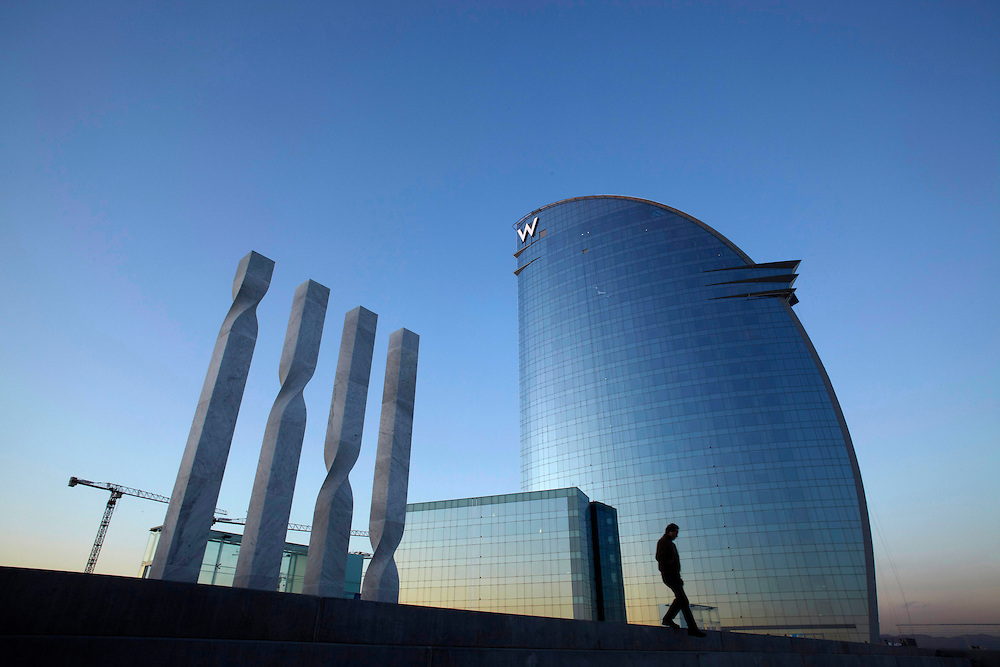 """Feb, 02. 2010. City of Barcelona. New hotel """"W Barcelona"""" from the Starwood Hotels company. Located in the beach of """"La Barcelo"""