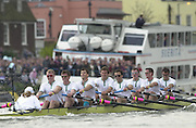 Putney, London   <br /> 2002 Varsity Boat Race. <br /> Photo Peter Spurrier<br /> 2002 Boat Race<br /> 30/03/02<br /> Cambridge, digging in deep, as they move in to the last 300 meters of the race.[Mandatory Credit:Peter SPURRIER/Intersport Images]