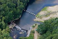 Aerial of fish ladder and ice breakers at Leesville Dam on the Salmon River, East Haddam, CT.