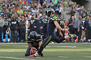 Aug 25, 2017; Seattle, WA, USA; Seattle Seahawks kicker Blair Walsh (7) kicks a 41-yard field goal out of the hold of punter Jon Ryan (9) in the first quarter against the Kansas City Chiefs during a NFL football game at CenturyLink Field.