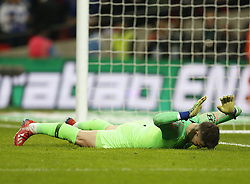 BRITAIN-LONDON-FOOTBALL-CARABAO CUP FINAL-CHELSEA VS MAN London.(190224) -- LONDON, Feb. 24, 2019  Chelsea's goalkeeper Kepa Arrizabalaga misses the ball in the penalty shoot out during the Carabao Cup Final match between Chelsea and Manchester City at Wembley Stadium in London, Britain on Feb. 24, 2019. Manchester City won 4-3 on penalties after a 0-0 draw.  FOR EDITORIAL USE ONLY. NOT FOR SALE FOR MARKETING OR ADVERTISING CAMPAIGNS. NO USE WITH UNAUTHORIZED AUDIO, VIDEO, DATA, FIXTURE LISTS, CLUB/LEAGUE LOGOS OR ''LIVE'' SERVICES. ONLINE IN-MATCH USE LIMITED TO 45 IMAGES, NO VIDEO EMULATION. NO USE IN BETTING, GAMES OR SINGLE CLUB/LEAGUE/PLAYER PUBLICATIONS. (Credit Image: © Matthew Impey/Xinhua via ZUMA Wire)