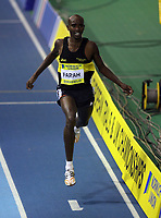 Photo: Rich Eaton.<br /> <br /> Norwich Union European Indoor Trials and UK Championships, Sheffield. 11/02/2007. Mo Farah crosses the line to win the mens 1500 metres