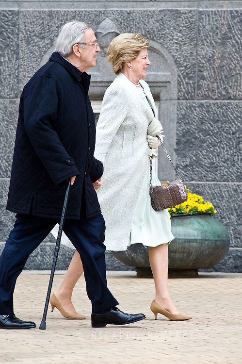 16.04.2015. Copenhagen, Denmark.<br /> Constantine II and Anne-Marie of Greece arrive to the Town Hall during festivities for the 75th birthday of Queen Margrethe II of Denmark.<br /> Photo:© Ricardo Ramirez