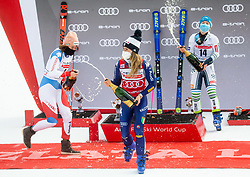 Second placed Michelle Gisin (SUI), winner Marta Bassino (ITA) and third placed Meta Hrovat (SLO) celebrate during trophy ceremony after 2nd Run of Ladies' Giant Slalom at 57th Golden Fox event at Audi FIS Ski World Cup 2020/21, on January 17, 2021 in Podkoren, Kranjska Gora, Slovenia. Photo by Vid Ponikvar / Sportida