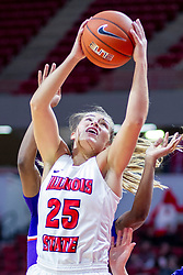 NORMAL, IL - January 05: Lexi Wallen grabs an offensive rebound during a college women's basketball game between the ISU Redbirds and the Purple Aces of University of Evansville January 05 2020 at Redbird Arena in Normal, IL. (Photo by Alan Look)