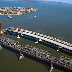 Aerial view of The Bay Bridge, California, under construction
