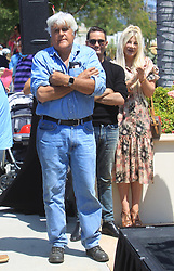 Jay Leno and Tori Spelling are seen in Los Angeles, CA.