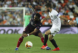 May 9, 2019 - Valencia, Valencia, Spain - Lacazette of Arsenal and Gaya of Valencia in action during UEFA Europa League football match, between Valencia and Arsenal, May 09th, in Mestalla stadium in Valencia, Spain. (Credit Image: © AFP7 via ZUMA Wire)