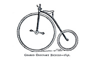 Geared Ordinary high wheel bicycle 1891 From Wheels and Wheeling; An indispensable handbook for cyclists, with over two hundred illustrations by Porter, Luther Henry. Published in Boston in  1892