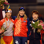 NLD/Heerenveen/20060122 - WK Sprint 2006, winnaressen 2de 500 meter dames, Manli Wang, Svetlana Zhurova, Sayuri Osugav, Zjoerova, wereldkampioene, rusland, russia