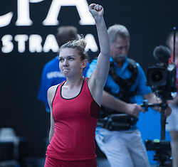 MELBOURNE, Jan. 25, 2018  Simona Halep of Romania waves to spectators after winning the women's singles semifinal match against Angelique Kerber of Germany at Australian Open 2018 in Melbourne, Australia, Jan. 25, 2018. Halep won 2-1 to enter the final. (Credit Image: © Zhu Hongye/Xinhua via ZUMA Wire)
