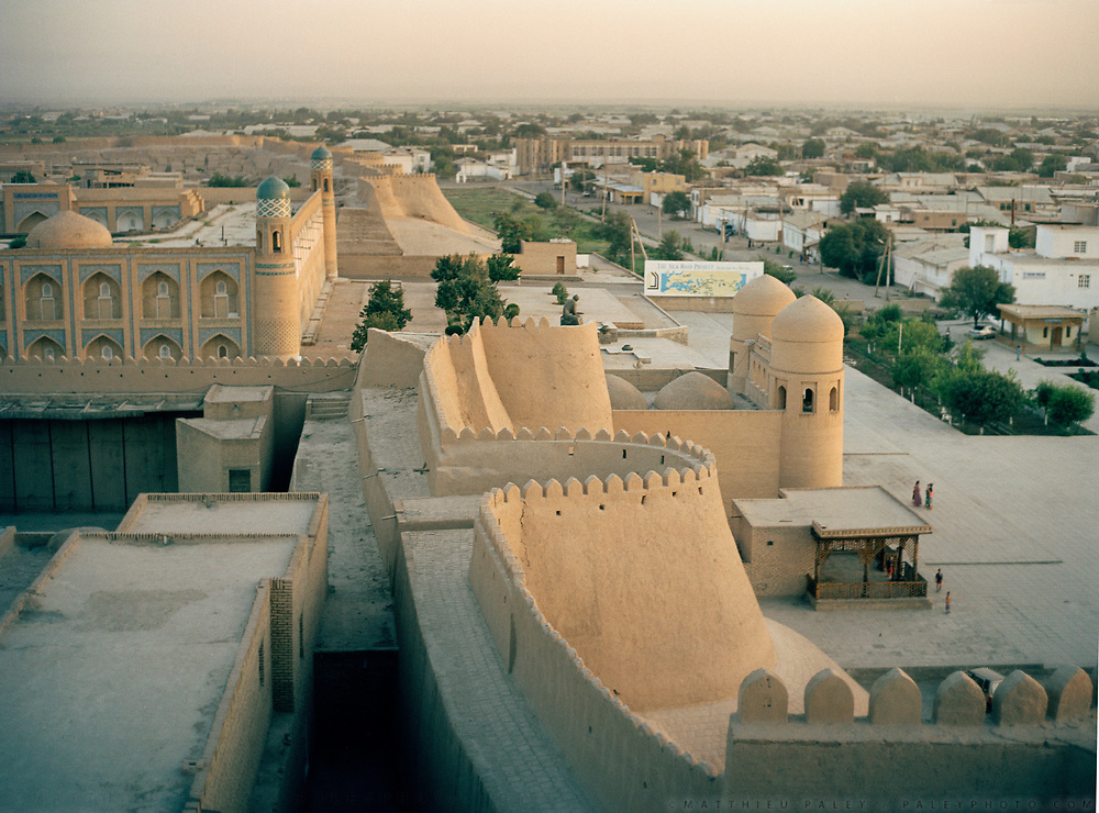 View over the old preserved city of Khiva, on the ancient Silk Road. Uzbekistan.