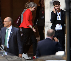 © Licensed to London News Pictures. 04/09/2019. London, UK. Former British Prime Minister THERESA MAY is seen at the Houses of Parliament in Westminster, London. British Prime Minister Boris Johnson has a called for a general election after losing his first commons vote and losing his majority, removing his control of parliament. Photo credit: Ben Cawthra/LNP