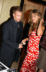 Top chef TOM AIKENS and MISS CELIA WALDEN at the Harpers & Queen and Moet & Chandon Restaurant Awards for 2004 held at Claridges, Brook Street, London on 1st November 2004.<br /><br />NON EXCLUSIVE - WORLD RIGHTS